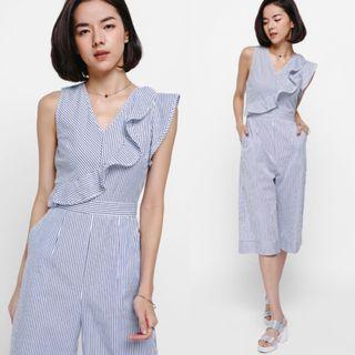 (S) Love Bonito Joliet Striped Ruffle Midi Jumpsuit