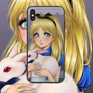 alice in the wonderland tempered glass phone casing