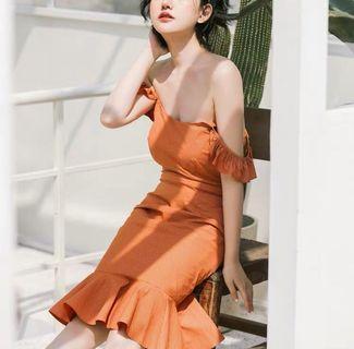 超美荷葉袖修身顯瘦洋裝 連身裙