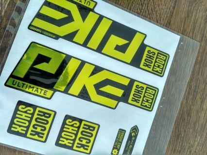 Rockshox Pike Ultimate Gold Chrome Fork Decals