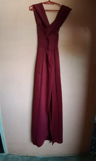 Burgundy Long Dress wih open slit