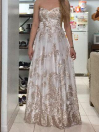 Strapless Prom Dress - White and Gold with glitter
