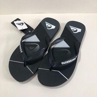 QUIKSILVER 男生 澳洲海灘拖鞋 US9(MOLOKAI SLASH FADE LOGO 人字夾腳拖鞋-黑色)