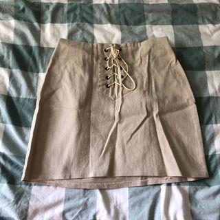 🚚 pomelo beige linen lace up a line mini skirt