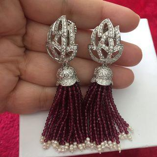 White topaz  with red Quartz tassels Earrings