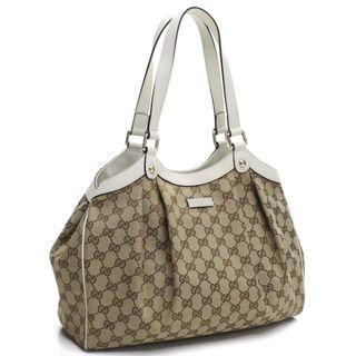 Gucci Handbag Original GG Canvas Beige Ebony White Leather Trim Tote