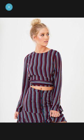Brand New Stripe Wrap Top sz 8 RRP $49.95