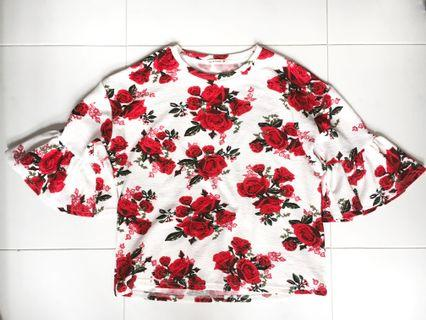 White Floral Bell Sleeves Top (PRICE REDUCED)
