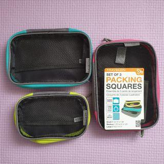 🚚 Travelon Set Of 3 Packing Squares Cube Pouches With See Through Mesh Panels Bright EUC
