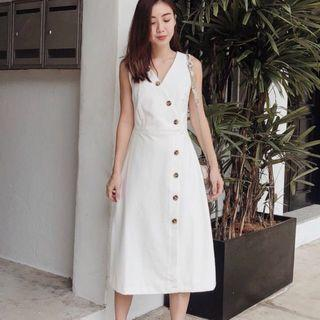 (S) LAB BLAIRE FOLDOVER MIDI DRESS WHITE
