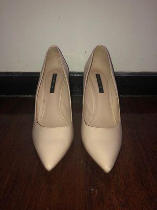 Charles & Keith Heels Beige/Nude Heels with Gold Details