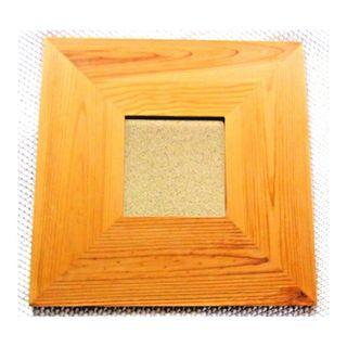 Mirror with wood frame