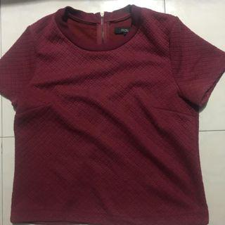 MDS quilted top wine red L