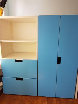 ikea kids wardrobe + shelving with 2 chest drawers