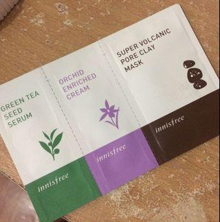 Innisfree Greentea Seed Serum, Orchid Enriched Cream, Super Volcanic Pore Clay Mask