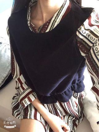 🚚 實穿❤️雪紡假兩件針織連衣裙