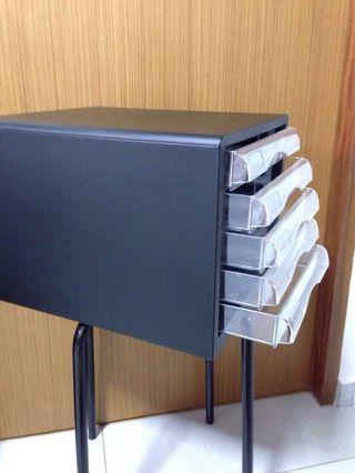 5 tiers document drawer-black