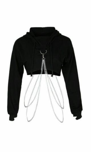 Cropped chain hoodie