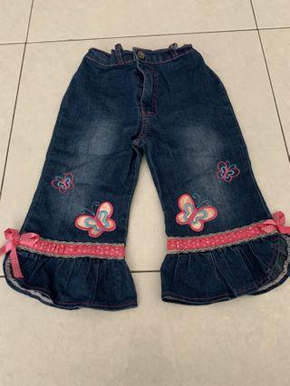 Adjustable Long Pants with Ribbons and Butterflies