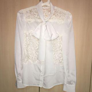 🚚 Elegant White Long Sleeve Silk Lace Shirt