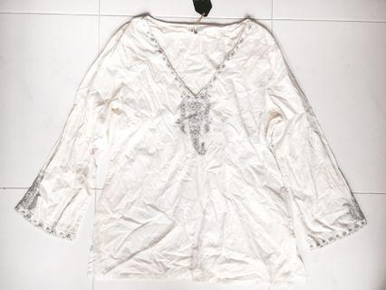 White Long Sleeves Embellished Top (PRICE REDUCED)