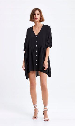 Zara black gathered dress