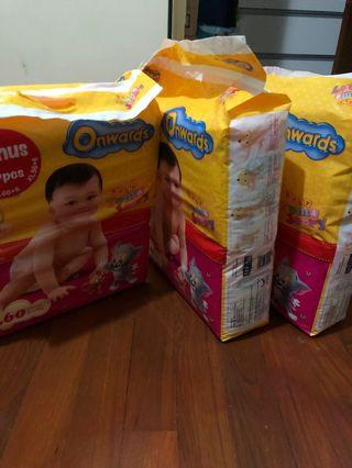 🚚 Diapers Onwards size L 60 pieces+ bonus 6. Buy2 get 1 free (have been opened, inside 60 pieces)