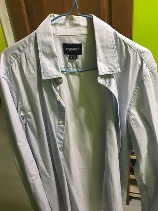 Pull&Bear blue long sleeve shirt