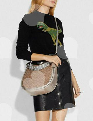 ❤️ Coach 40616 Sutton Hobo In Signature Canvas With Snakeskin Detail