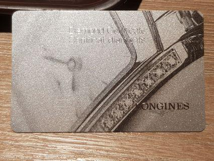 LONGINGS 浪琴錶 鑽石錶款 原廠鑽石保證卡一張