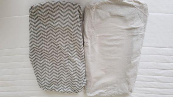 Tutti Bambini CoZee Bedside Crib Fitted Sheets Twin Pack - Chevron/Grey