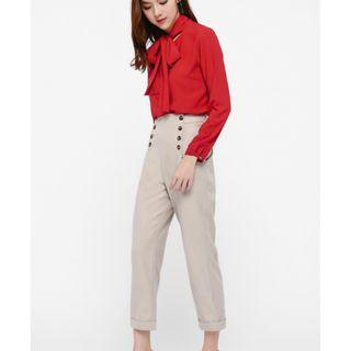 Hedley Button Front Cuffed Pants