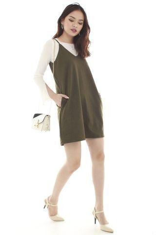 Olive basic pocket slip dress