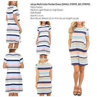WST 26134 Multi Color Pocket Dress