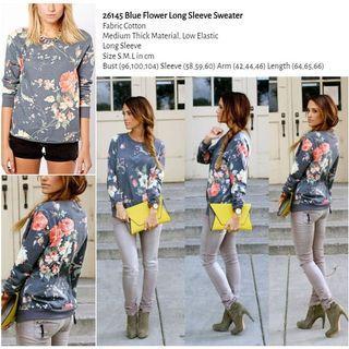 WST 26145 Blue Flower Long Sleeve Sweater
