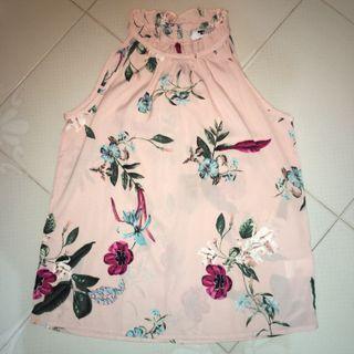 BN TEMT Peach Floral Halter Neck Blouse
