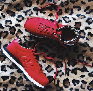 Brand New New Balance 574 Limited Edition Red With Leopard Print Shoes
