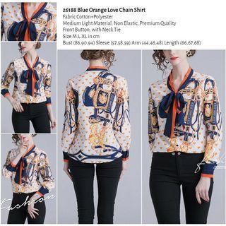WST 26188 Blue Orange Love Chain Shirt