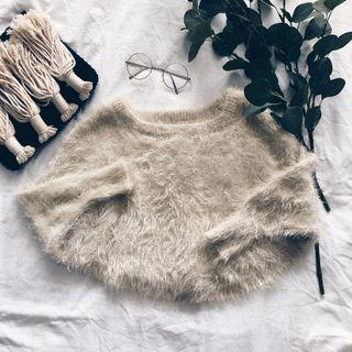Off White Fur Long Sleeve Cropped Top