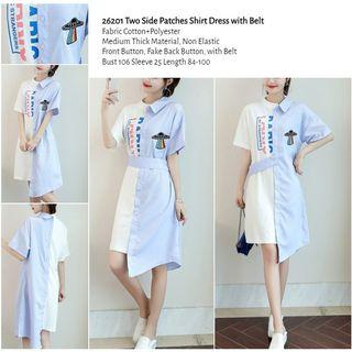 WST 26201 Two Side Patches Shirt Dress with Belt