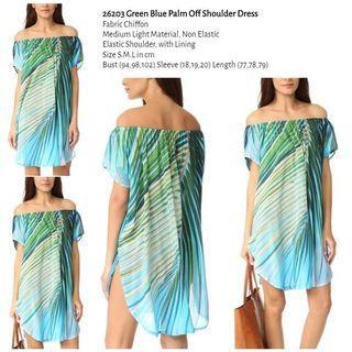 WST 26203 Green Blue Palm Off Shoulder Dress
