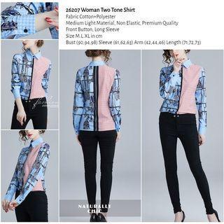 WST 26207 Woman Two Tone Shirt