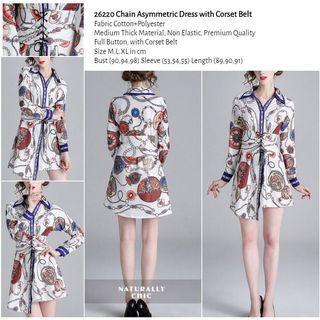 WST 26220 Chain Asymmetric Dress with Corset Belt