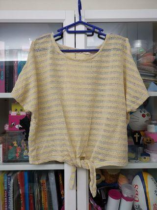 日本ray cassin嬌黃針織露肩上衣