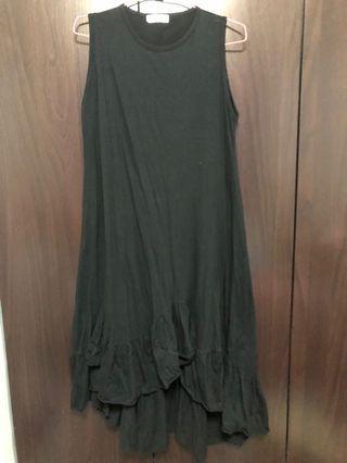 🚚 Black Ruffle Hi-lo Dress