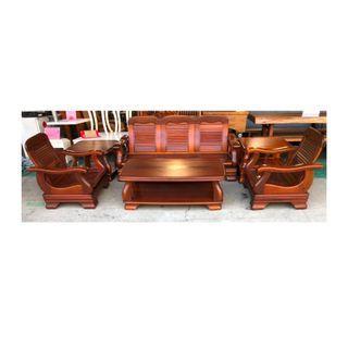 【吉旺二手傢俱生活館】二手/中古 木組椅1+1+3+ 水鑽沙發 貓抓皮沙發 L型沙發 -各式新舊/二手家具 生活家電買賣