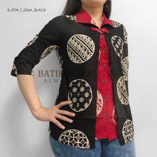 Batik 2 Layers Top in Black & Red