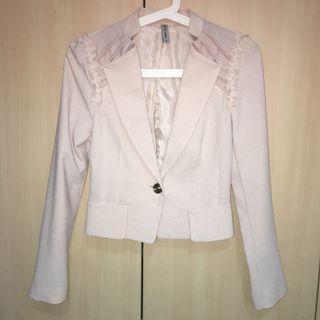 Stylish Korean Nude Pink/Beige Cropped Blazer