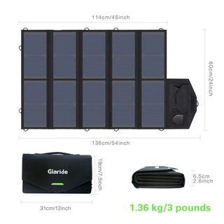 🚚 SOLAR FOLDABLE CHARGER GIARIDE 18V 60W Sunpower Panel Solar Charger 5V USB/18V DC Output for Laptop, Tablet, iPad, iPhone, Samsung