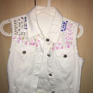 White Denim Vest with sequins & lace